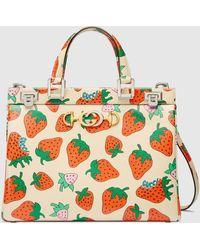 Gucci 〔グッチ ズゥミ〕 ストロベリー(いちご) プリント ミディアム トップハンドルバッグ - マルチカラー