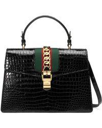 Gucci - Sylvie Medium Crocodile Top Handle Bag - Lyst