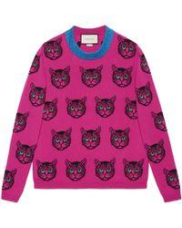 Gucci - Mystic Cat Wool Cashmere Knit Jumper - Lyst