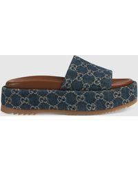 Gucci Damenpantolette mit Plateausohle - Blau
