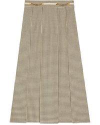 Gucci Jupe plissée en laine à carreaux - Blanc