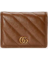 Gucci - 【公式】 (グッチ)〔GGマーモント〕カードケース ウォレット(コイン&紙幣入れ付き)ブラウン レザーブラウン - Lyst