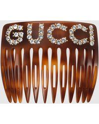 Gucci 【公式】 (グッチ)クリスタル グッチ ヘアコームトータスシェル アクリル樹脂 Undefined - ブラウン