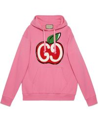 Gucci Hooded Sweatshirt With GG Apple Print - Pink