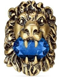 Gucci | Lion Head Ring With Crystal | Lyst