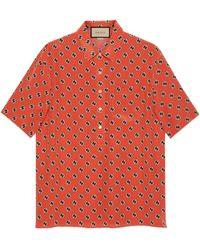 Gucci Chemise de bowling en crêpe de soie à hexagones GG - Orange