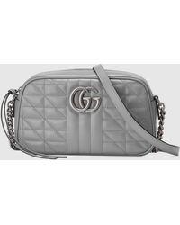 Gucci 【公式】 (グッチ)〔GGマーモント〕スモール ショルダーバッグダークグレー レザーグレー