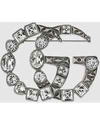 Gucci Brosche mit Doppel G und Kristallen - Mettallic