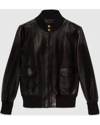 Gucci 【公式】 (グッチ)レザー ボンバージャケットブラックブラック