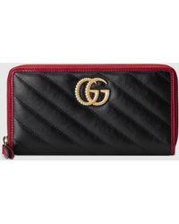 Gucci GG Marmont Brieftasche mit Reißverschluss - Schwarz