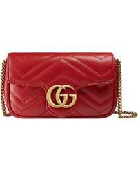 Gucci Sac super mini GG Marmont en cuir matelassé - Rouge