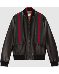 Gucci Bomberjacke aus Leder mit Web - Schwarz