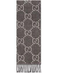 Gucci GG Jacquard Knit Scarf With Tassels - Grey