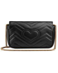 Gucci GG Marmont Matelasse Leather Super Mini Bag - Black