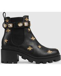 Gucci エンブロイダリー ブーツ - ブラック