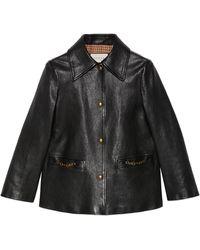 Gucci Veste en cuir avec mors - Noir