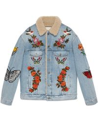 Gucci Embroidered Denim Jacket With Shearling - Blue