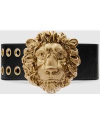 Gucci Gürtel aus Leder mit Löwenkopf Schnalle - Schwarz