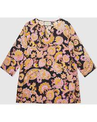 Gucci Hemd im Kaftanstil aus Leinen mit Paisley Print - Pink