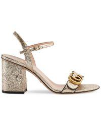 Gucci - Metallic Laminate Leather Mid-heel Sandal - Lyst