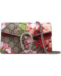Gucci Dionysus Super-Mini-Tasche aus GG Blooms - Natur