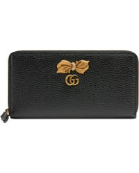 Gucci Leather Zip Around Wallet With Bow - Black