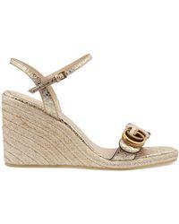 Gucci Damen-Espadrille-Sandale mit Doppel G - Mettallic