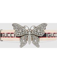 Gucci Gürtel mit Streifen und Schmetterling - Weiß