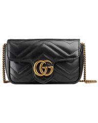 Gucci Supermini Gg Marmont 2.0 Matelassé Leather Shoulder Bag - Black