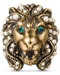 Gucci | Lion Head Ring With Crystals | Lyst
