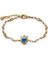 Gucci Bracciale con cuore con cristalli - Metallizzato
