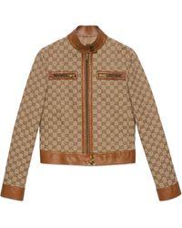 Gucci Jacke aus gg canvas mit lederbesatz - Natur
