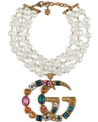 Gucci - Crystal Double G Necklace - Lyst