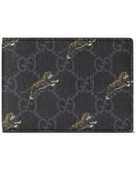Gucci GG Wallet With Tiger Print - Black