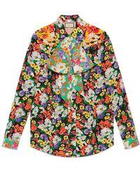 Gucci - Wildflowers Print Pintuck Shirt - Lyst
