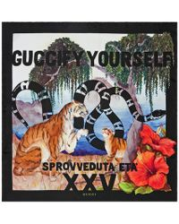 Tigers and Kingsnake print silk scarf - Black Gucci OEEcN