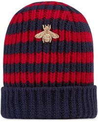 6498b863630 Gucci Striped Wool Knit Hat in Black for Men - Lyst