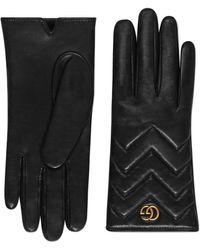 Gucci Guantes GG Marmont de Piel con Motivo Chevron - Negro