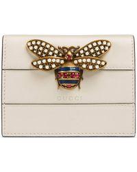 Gucci Portefeuille porte-cartes Queen Margaret en cuir - Blanc