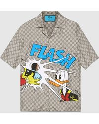 Gucci - Bowling Shirt aus Seide mit Disney x Donald Duck Print - Lyst