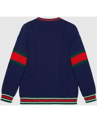 Gucci DIY Unisex Pullover aus Wolle - Blau