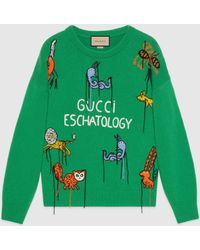 Gucci 【公式】 (グッチ)フレイヤ・ハルタス アニマル ウール セーターグリーングリーン
