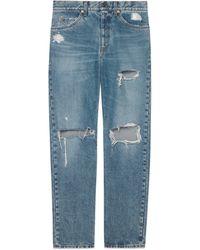Gucci Ripped Jeans aus ökologisch gebleichtem Bio Denim - Blau