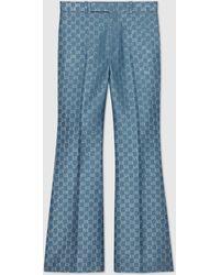 Gucci グッチライト GGラメ フレアパンツ - ブルー