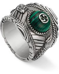 Gucci Garden Ring In Silver - Multicolour