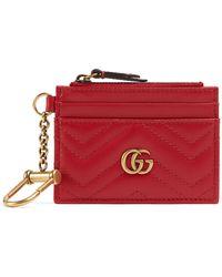 Gucci GG Marmont Brieftasche mit Schlüsselanhänger - Rot