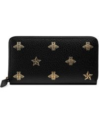 Gucci Bee Star Leather Zip Around Wallet - Black