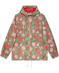 Gucci Jacke aus Nylon mit GG Apfel-Print - Natur