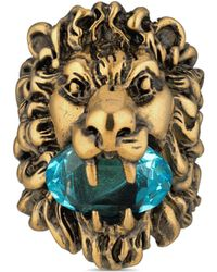 Gucci Lion Head Ring With Crystal - Blue
