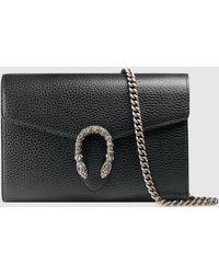 Gucci Dionysus Mini Tasche aus Leder mit Kette - Schwarz